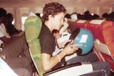 Gary Gregg on plane to T&T 100km 1982